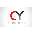 red and black cy c y letter logo design creative vector image vector image