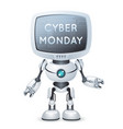 sale cyber monday screen monitor head robot text vector image