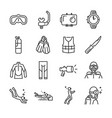 scuba diving line icon set vector image vector image