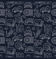 seamless pattern with car service thin line vector image vector image