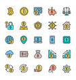 set bitcoin and cryptocurrency flat color icons vector image vector image