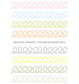 set pastel-colored crayon design elements vector image