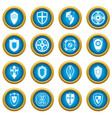 shields set icons blue circle set vector image vector image