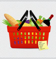 shopping list and red basket with foods isolated vector image