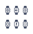 smart watch icons on white vector image vector image