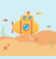 submarine under water concept flat vector image vector image