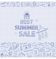 Summer sale on the notebook sheet hand draw vector image