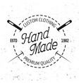 tailor shop black round emblem with stitch vector image vector image