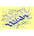 three dimensional word team with people a vector image vector image