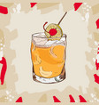 whiskey sour cocktail alcoholic bar drink hand vector image