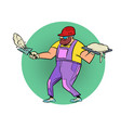 worker with cement renovation and construction vector image