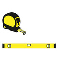 Yellow level construction and tape measure vector image vector image