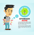 young sick man having stomach ache food vector image