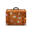 Old Suitcase With Travel Stickers vector image