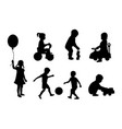 set of silhouettes of children playing vector image