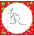 thin black one line design of kangaroo hand drawn vector image