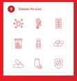 9 pill icons vector image vector image