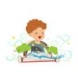 adorable toddler boy having fun with magic pop-up vector image vector image