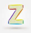Alphabet letter Z Watercolor paint design element vector image vector image