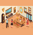 antiquarian shop isometric interior vector image vector image