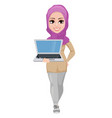 arabic business woman smiling cartoon character vector image