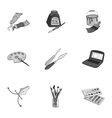 Artist and drawing set icons in monochrome style vector image vector image