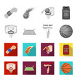 basketball and attributes monochromeflat icons in vector image