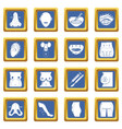 body parts icons set blue square vector image