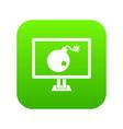 Bomb on computer monitor icon digital green