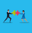 business couple with puzzle pieces vector image vector image