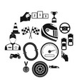car racing simple icons vector image