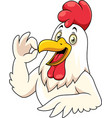 cartoon happy rooster with showing ok sign gesture vector image vector image