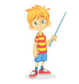 cartoon little boy in shorts vector image