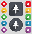 Christmas tree icon sign A set of 12 colored vector image vector image