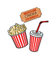 cinema objects - popcorn bucket soda water and vector image vector image