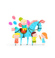 circus horse and kids holiday vector image
