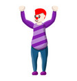 clown hands up icon cartoon style vector image