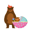 cute and little bear and baby vector image vector image