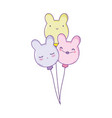 cute balloons with ears shaped vector image