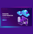 digital data migration isometric landing page vector image