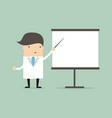 doctor shows pointer on the white board vector image vector image