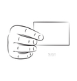 draw hand and business card vector image vector image