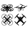 drone silhouette icons set vector image vector image