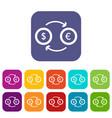 euro dollar euro exchange icons set vector image vector image