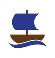 Flat web icon on white background sailing ship vector image vector image
