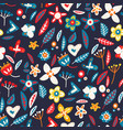 floral seamless background in flat style vector image vector image