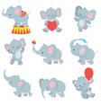 funny cartoon baelephants collection vector image vector image