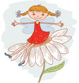 funny girl elf on a camomile vector image vector image