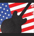guitar silhouette over flag vector image vector image