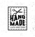 hand made sewing black squared emblem vector image